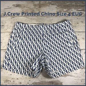 Jcrew Printed Shorts Size 4 White w/Seahorses EUC